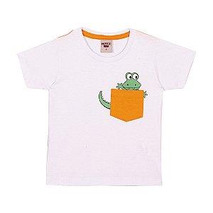Camiseta Jacaré Infantil Menino Branco