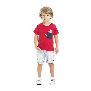 Camiseta Jacaré Infantil Menino Vermelho