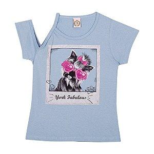 Blusa York Meia Malha Infantil Menina Azul