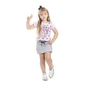 Conjunto Blusa e Short-Saia Gatinho Infantil Menina Rosa