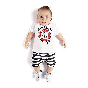 Conjunto Camiseta Marine Sea e Bermuda Moletom Infantil Menino