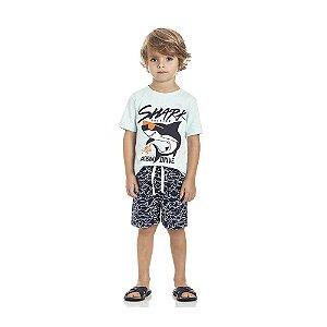 Conjunto Camiseta Tubarão e Bermuda Tactel Infantil Menino
