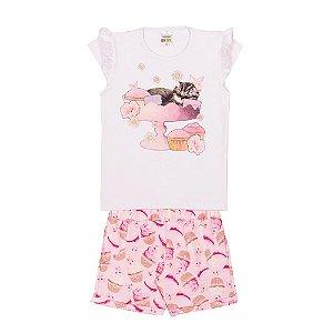Conjunto Blusa e Short Cupcakes Infantil Menina Branco