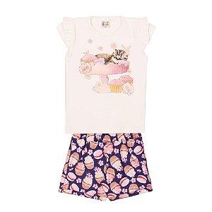Conjunto Blusa e Short Cupcakes Infantil Menina Marfim