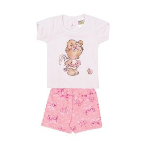 Conjunto Blusa e Short Laços Infantil Menina Branco