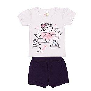 Conjunto Blusa e Short Bailarina Infantil Menina Branco