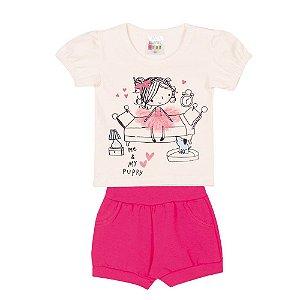 Conjunto Blusa e Short Bailarina Infantil Menina Marfim