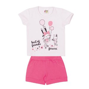 Conjunto Blusa e Short Best Friends Infantil Menina Branco
