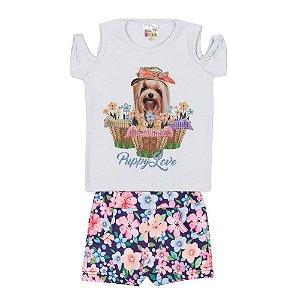 Conjunto Blusa Cachorrinho e Short Infantil Menina Azul Bebê