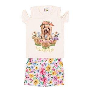 Conjunto Blusa Cachorrinho e Short Infantil Menina Marfim