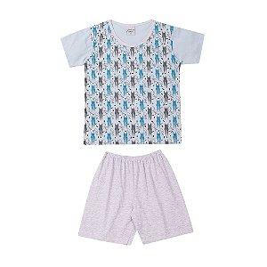 Pijama Meia Malha Gatinhos Infantil Menino