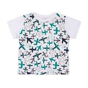 Camiseta Manga Curta Meia Malha Flamê Aviãozinho Infantil Menino