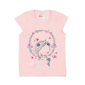 Blusa Sereia Infantil Menina Rosa Bebê