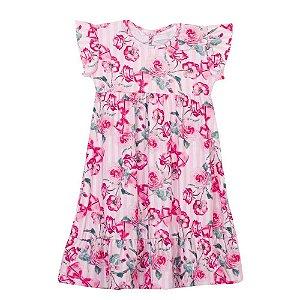 Vestido Rosas Infantil Menina Rosa