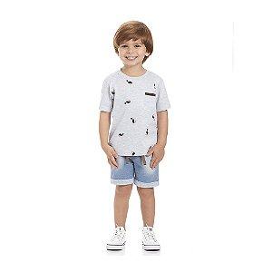 Conjunto  Camiseta Tucano Manga Curta Bermuda Moletom Infantil Menino