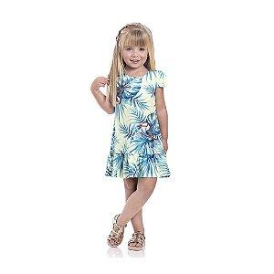 Vestido Crepe Super Light Flores Infantil Menina