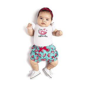 Conjunto Body Curto e Short Melancia Infantil Menina