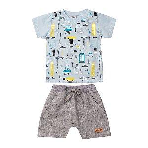 Conjunto Camiseta Cidade e Bermuda Moletom Infantil Menino Azul