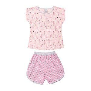 Pijama Curto Flamingos Infantil Menina Rosa