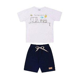 Conjunto Camiseta Brincando e Bermuda Moletom Infantil Menino Branco