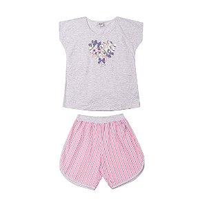 Pijama Curto Laços Infantil Menina Mescla