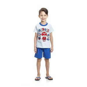 Pijama Heroes Brilha no Escuro Infantil Menino Azul
