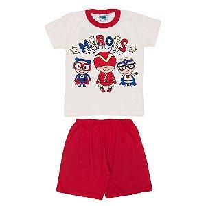 Pijama Heroes Brilha no Escuro Infantil Menino Vermelho