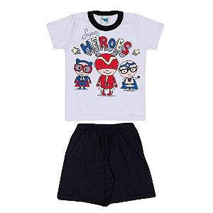Pijama Heroes Brilha no Escuro Infantil Menino Preto