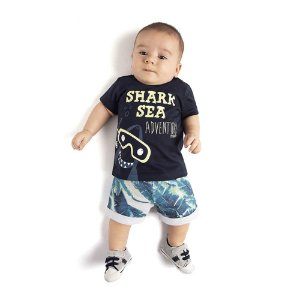 Conjunto Camiseta Adventure e Bermuda moletom Infantil Menino