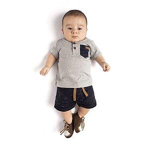 Conjunto Camiseta e Bermuda Moletom Infantil Menino