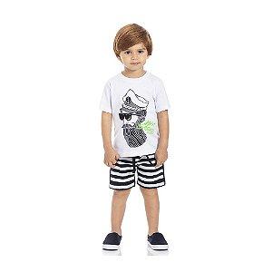 Conjunto Camiseta Capitão e Bermuda Moletom Infantil Menino