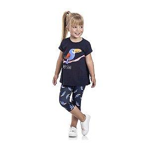 Conjunto Camiseta Tucano e Legging Infantil Menina