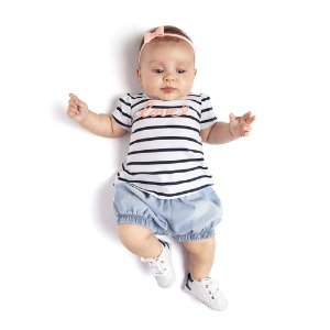 Conjunto Blusa Listrada e Short Infantil Menina