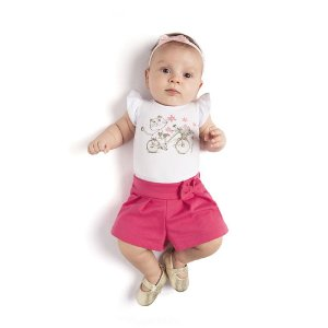 Conjunto Body Gatinha e Short Infantil Menina