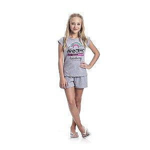 Pijama Arco-Íris Brilha no Escuro Infantil Menina Mescla