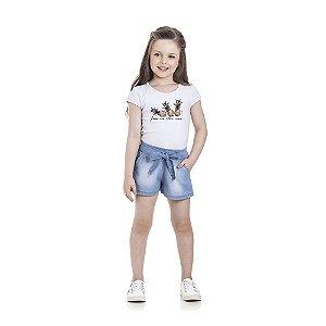 Conjunto Blusa Abacaxi e Short Infantil Menina