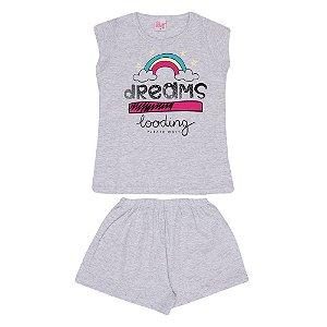 Pijama Arco-Íris Brilha no Escuro Infantil Menina Mescla Claro