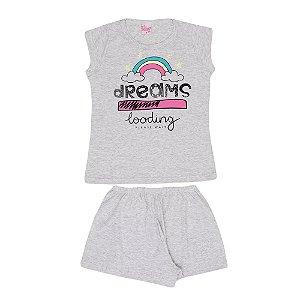 Pijama Arco-Íris Brilha no Escuro Infantil Menina Mescla Banana