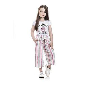 Conjunto Blusa Abacaxi e Calça Pantacourt Infantil Menina