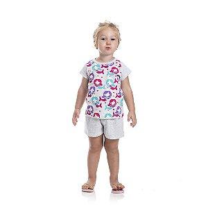 Pijama Sereia Brilha no Escuro Infantil Menina
