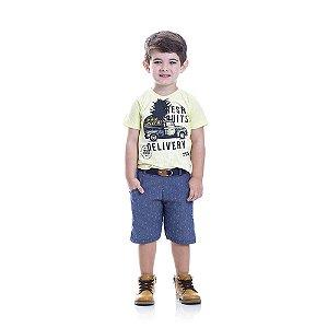 Conjunto Camiseta Delivery e Bermuda Infantil Menino
