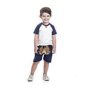 Conjunto Camiseta e Bermuda Tigre Infantil Menino