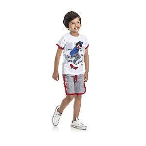 Conjunto Camiseta NEW YORK e Bermuda Moletom Infantil Menino