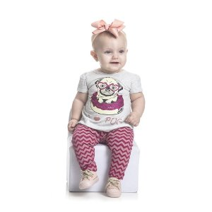 Conjunto Bata PUG e Legging Infantil Menina