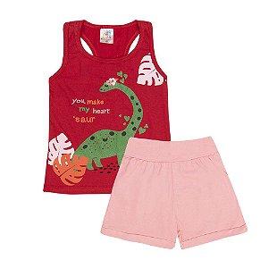Conjunto Regata Dinossauro e Short Infantil Menina
