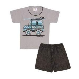 Conjunto Camiseta Carro e Bermuda Moletinho Infantil Menino
