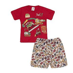 Conjunto Camiseta Construção e Short Infantil Menino