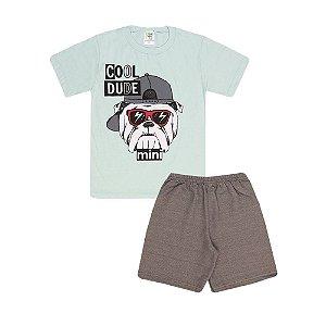 Conjunto Camiseta Cachorro e Bermuda Infantil Menino