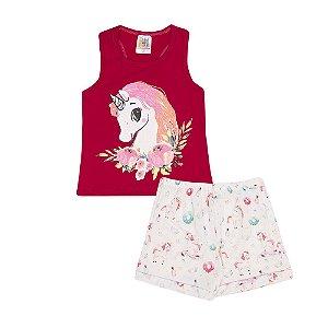 Conjunto Regata Unicórnio Rosa e Bermuda Infantil Menina