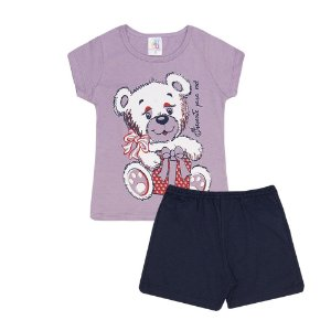 Pijama Curto Ursinho Infantil Menina